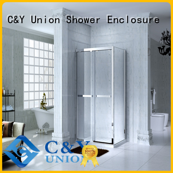 C&Y Union durable framed shower enclosure with sliding door for bathtub showers