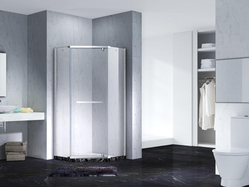 Neo-Angle Hinged Semi Frameless Diamond shape shower enclosure with pivot door,CY3231-1