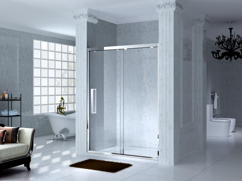 durable framed glass shower with sliding door for bagnio-2