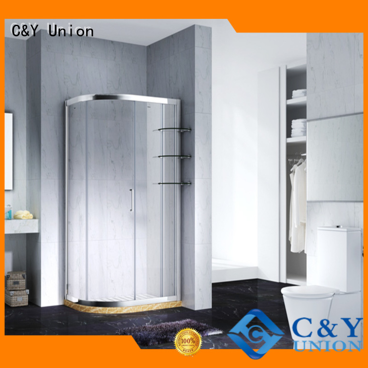 C&Y Union colorful framed shower glass doors with sliding door for bathroom