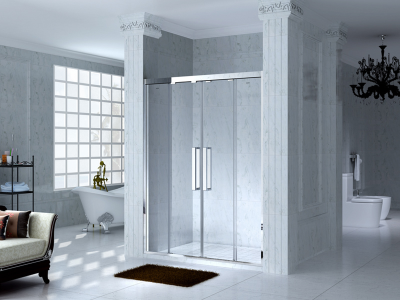 durable framed glass shower with sliding door for bagnio-4