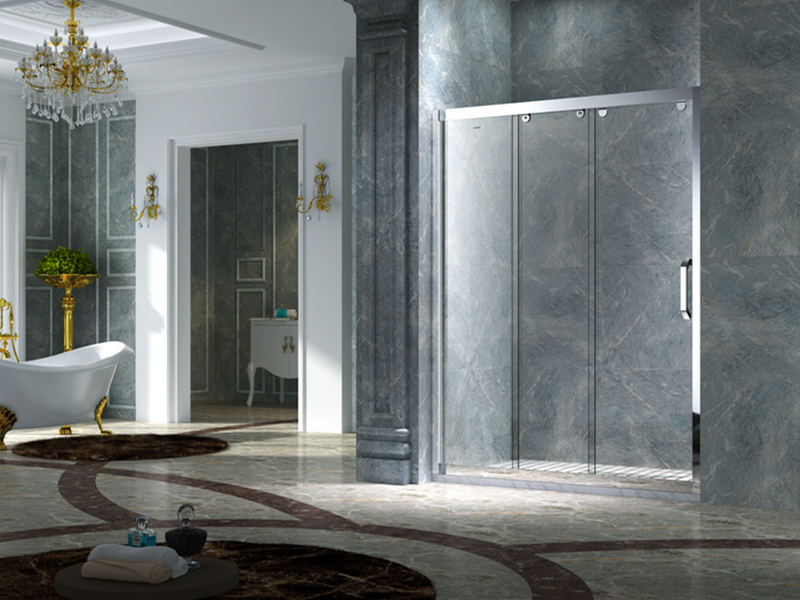 C&Y Union framed glass shower door with sliding door for bath