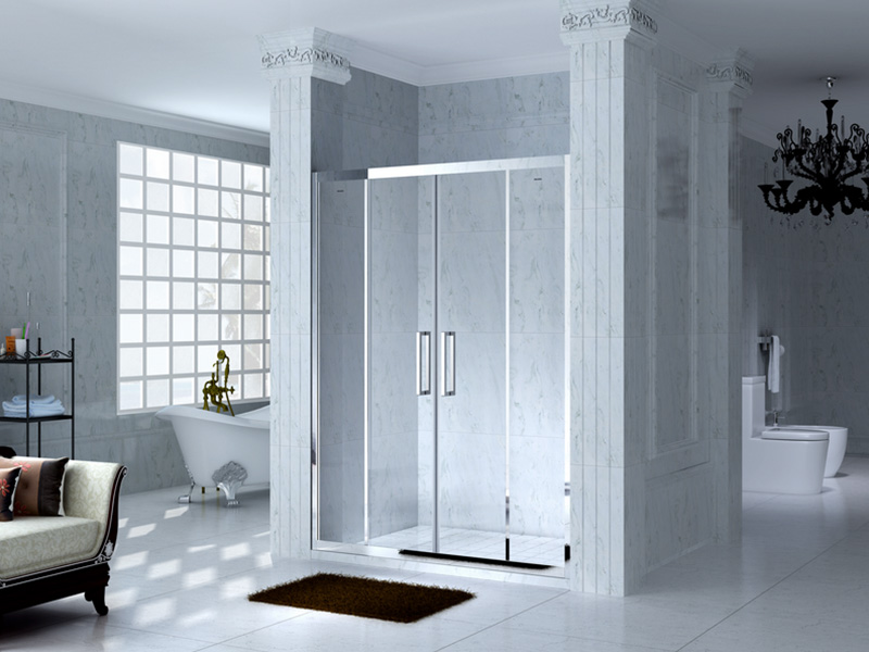 colorful semi framed shower door for alcove-2