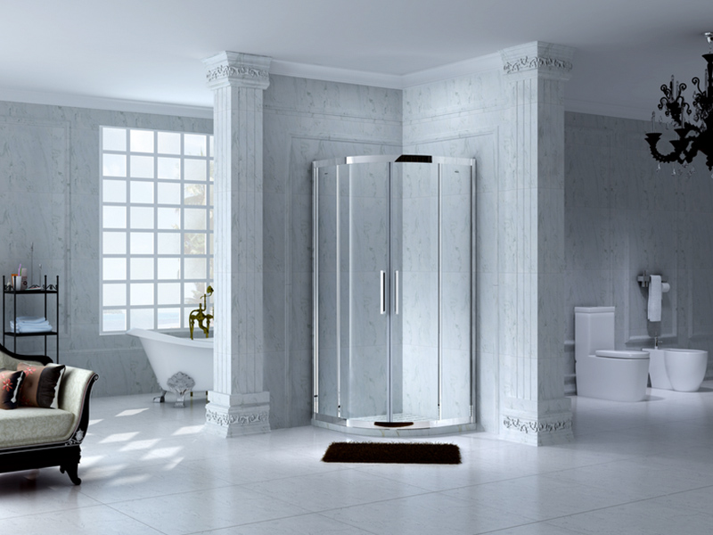 stainless steel framed glass shower with sliding door for corner-4
