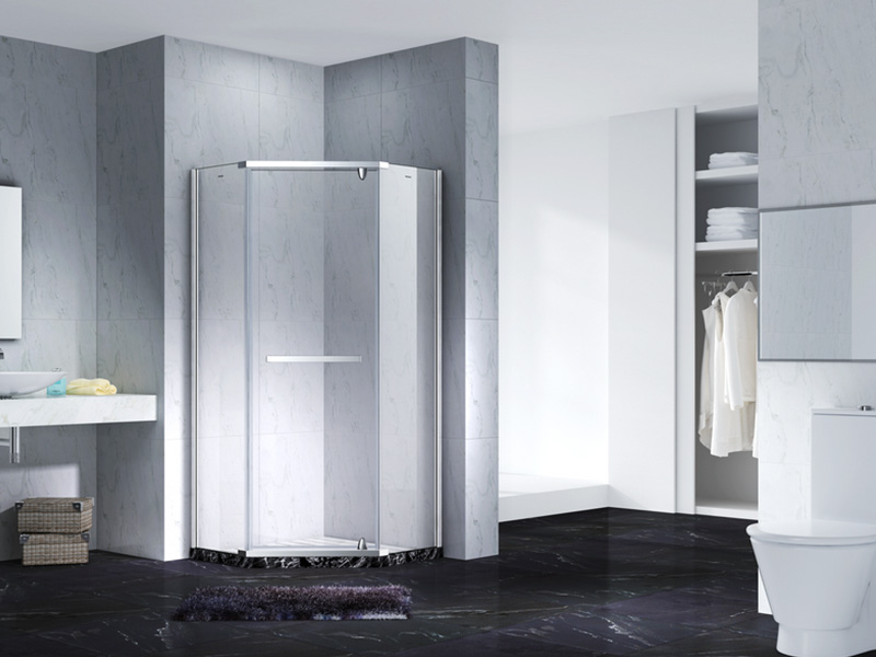Neo-Angle Hinged Semi Frameless Diamond shape shower enclosure with pivot door,CY3231-4