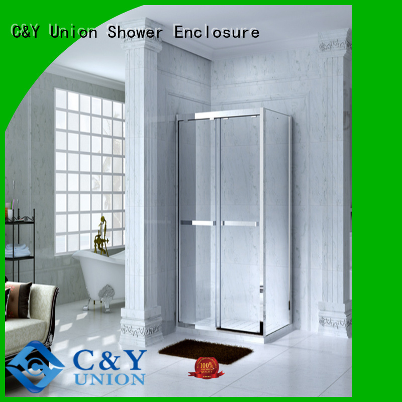 C&Y Union stainless steel framed glass shower door quadrant for alcove