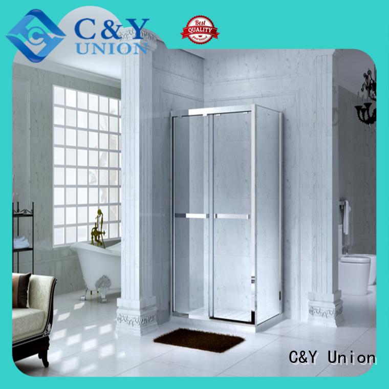 stainless steel semi framed shower for tub for alcove