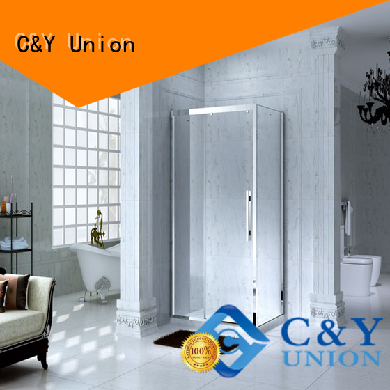 C&Y Union durable framed shower glass doors with sliding door for standalone showers