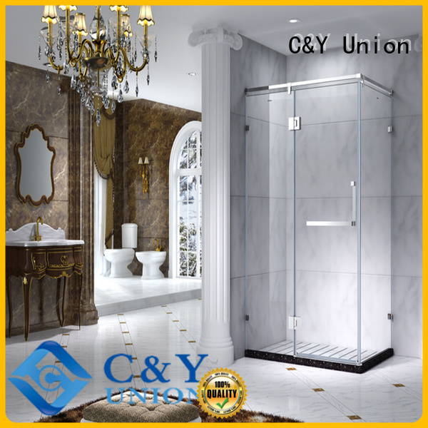C&Y Union durable framed glass shower for tub for corner