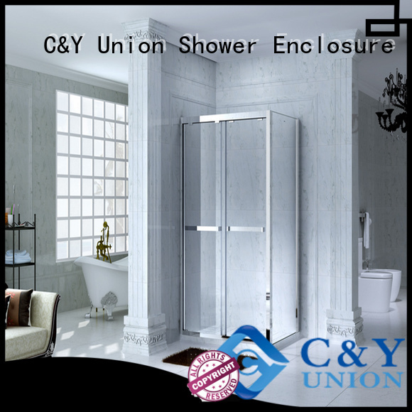 C&Y Union durable framed shower glass doors for bathtub showers