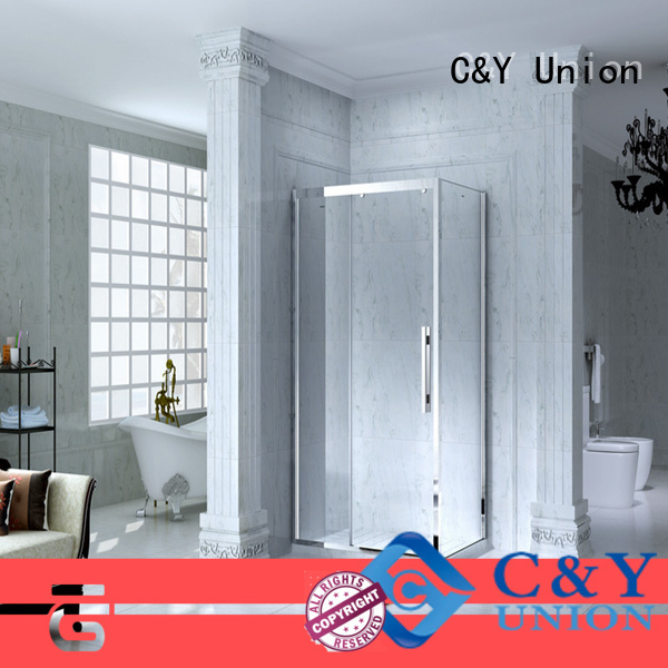 C&Y Union stainless steel framed glass shower manufacturer for bathroom