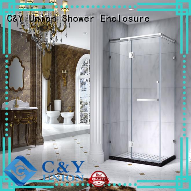 C&Y Union custom framed shower doors for tub for corner