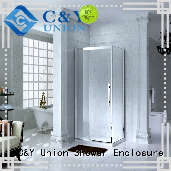 C&Y Union stainless steel framed shower enclosure for bathtub showers