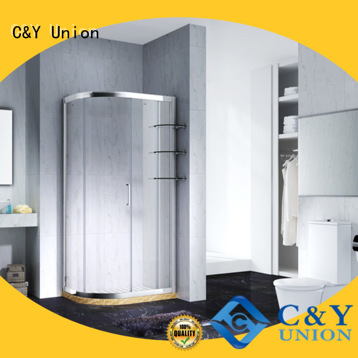 C&Y Union durable framed glass shower door with sliding door for alcove