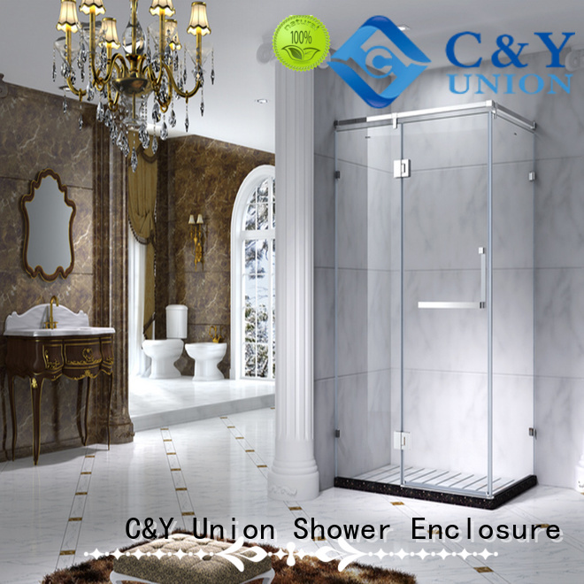 C&Y Union aluminum framed glass shower door for sale for corner