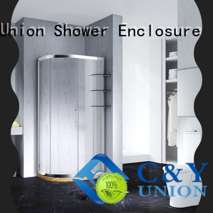 C&Y Union framed glass shower door with sliding door for standalone showers