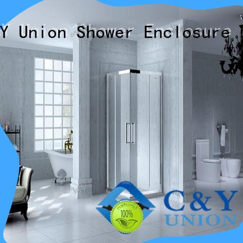 C&Y Union custom framed shower doors with sliding door for alcove