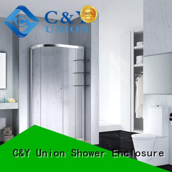 C&Y Union stainless steel semi framed shower with sliding door for corner