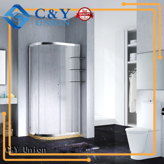 C&Y Union aluminum framed shower enclosure with sliding door for standalone showers