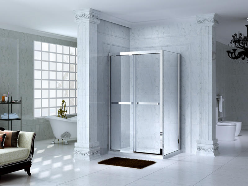 C&Y Union framed glass shower door with sliding door for bath-1