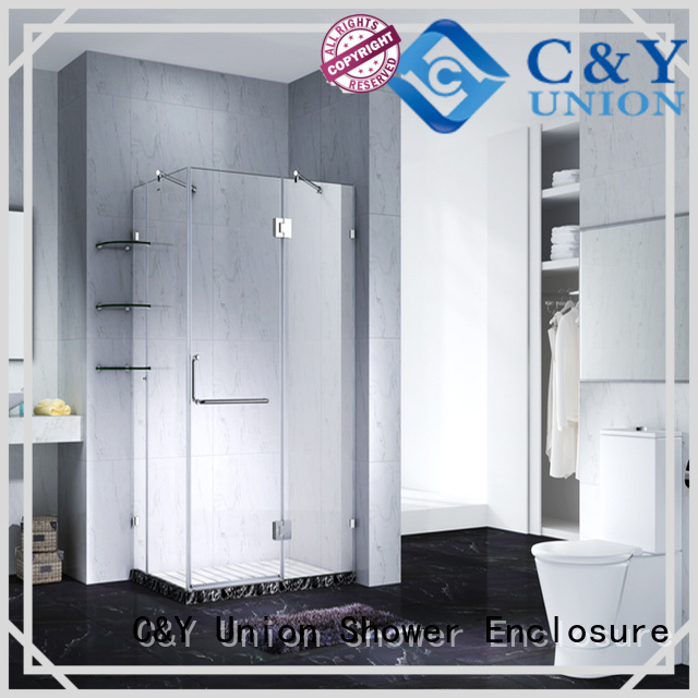C&Y Union high quality bathroom glass door hinged for bathtub