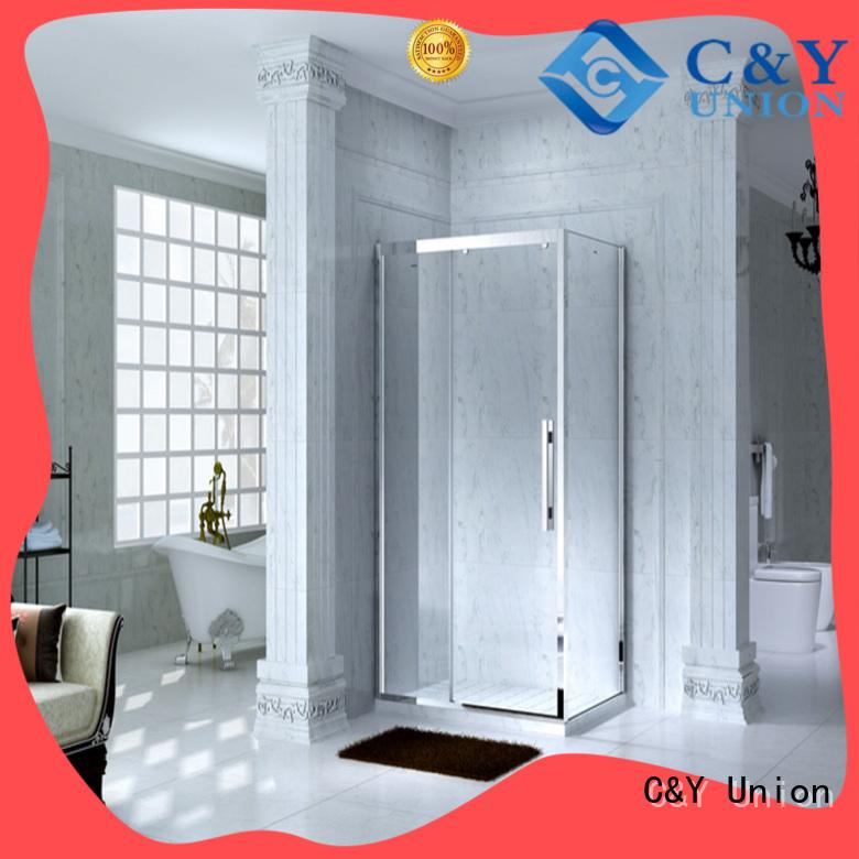 durable framed glass shower with sliding door for corner
