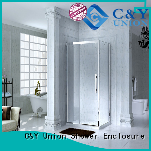 C&Y Union framed glass shower door with sliding door for alcove