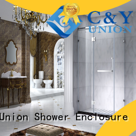 C&Y Union practical framed glass shower with sliding door for corner