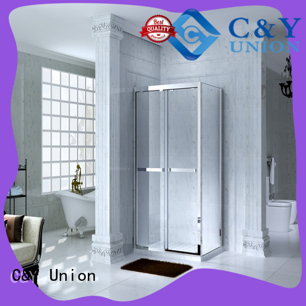 C&Y Union elegant framed glass shower enclosure with sliding door bathtub showers