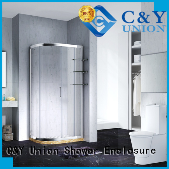 C&Y Union stainless steel framed glass shower enclosure for sale for alcove