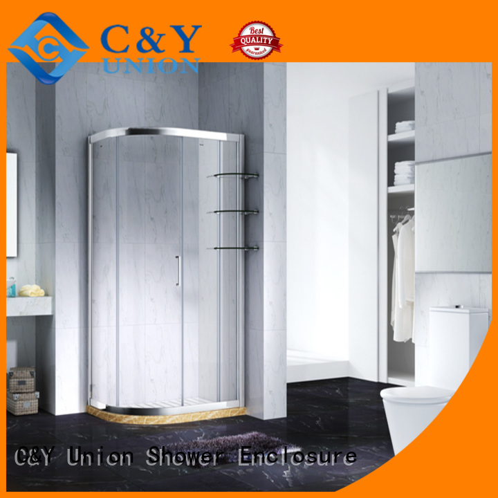 C&Y Union stainless steel framed glass shower enclosure for bath