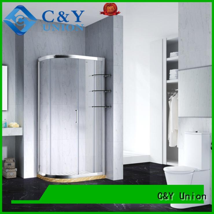 C&Y Union framed glass shower for corner