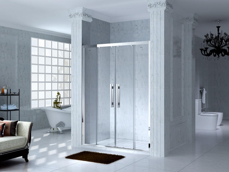 C&Y Union semi framed shower door with sliding door for bathtub showers-3
