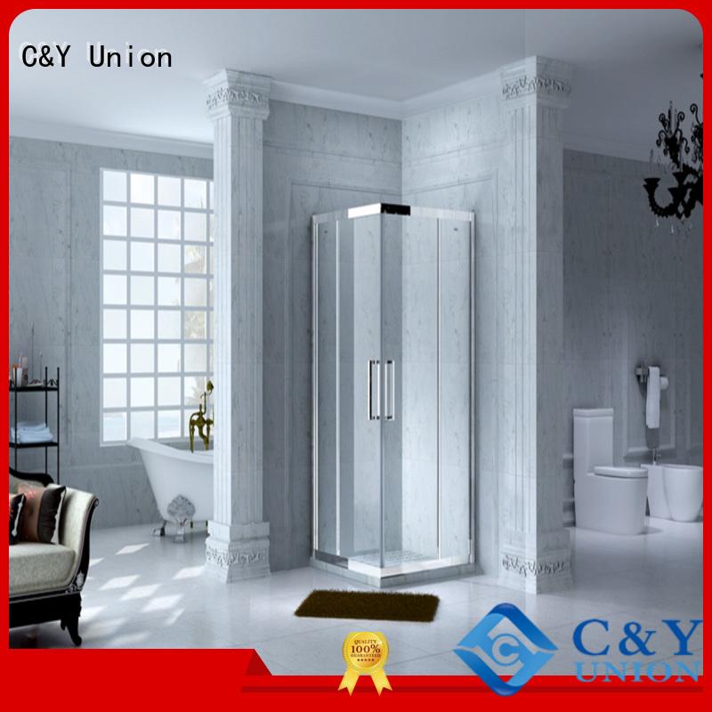 C&Y Union custom framed shower doors for corner