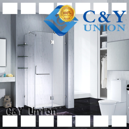 C&Y Union stable semi frameless shower door for bathtub