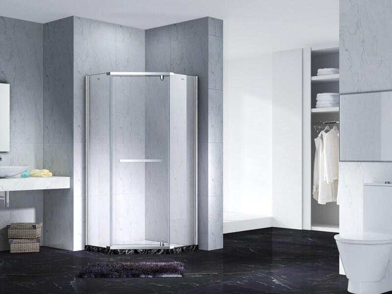 Neo-Angle Hinged Semi Frameless Diamond shape shower enclosure with pivot door,CY3231