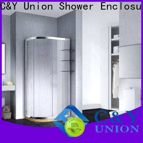 C&Y Union stainless steel semi framed shower door with sliding door for bath