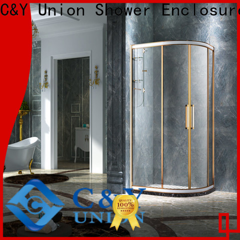 C&Y Union framed shower glass doors for corner