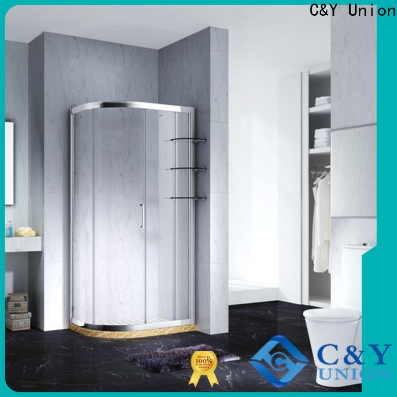 stainless steel semi framed shower with sliding door for corner