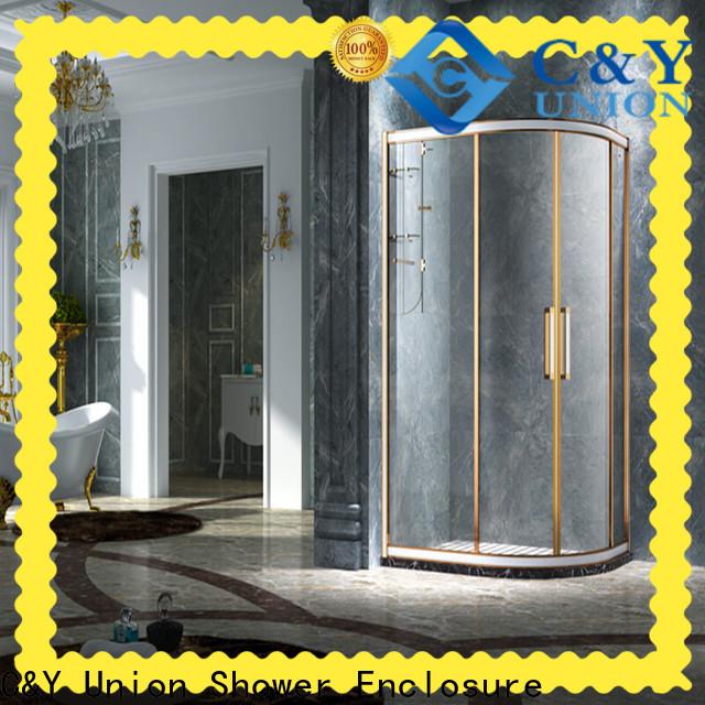 C&Y Union durable framed glass shower door for corner