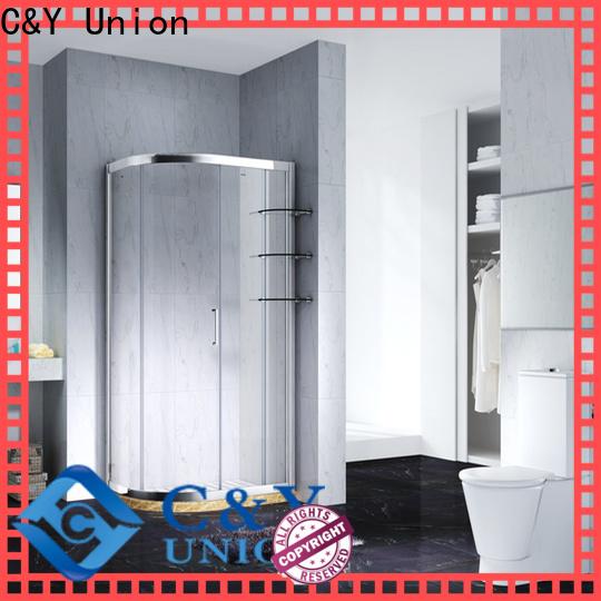 C&Y Union durable framed shower glass doors with sliding door for bathroom