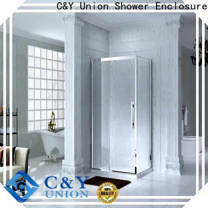 aluminum framed shower enclosure with sliding door for bathtub showers