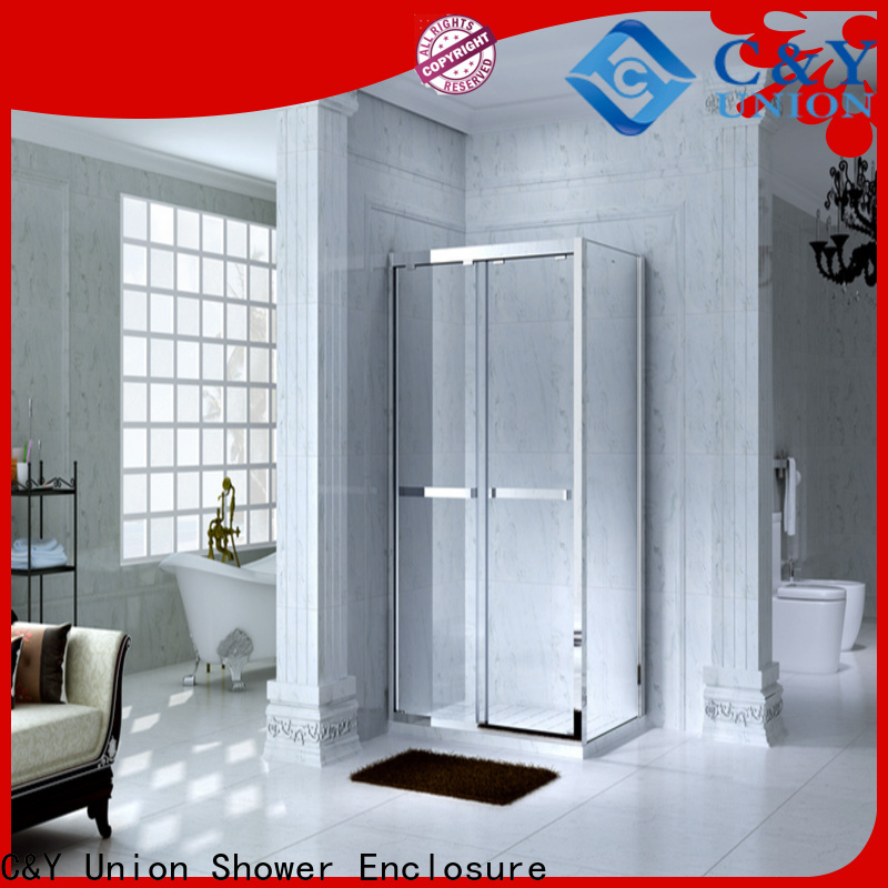C&Y Union stainless steel framed shower enclosure for tub for alcove