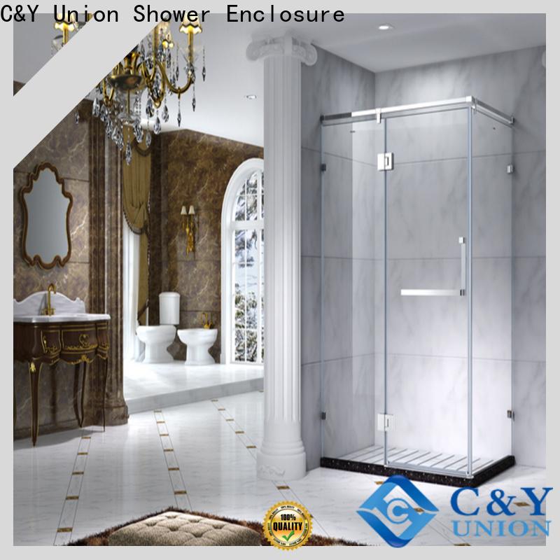 colorful framed glass shower enclosure for bathroom