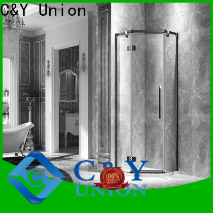 C&Y Union frameless glass shower doors for tub