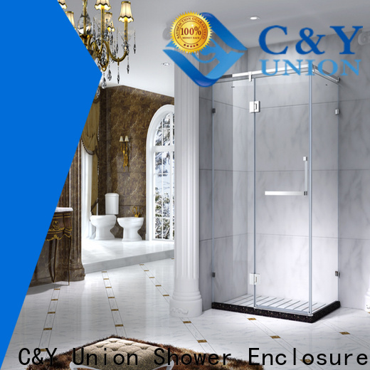 C&Y Union stainless steel framed glass shower enclosure for standalone showers