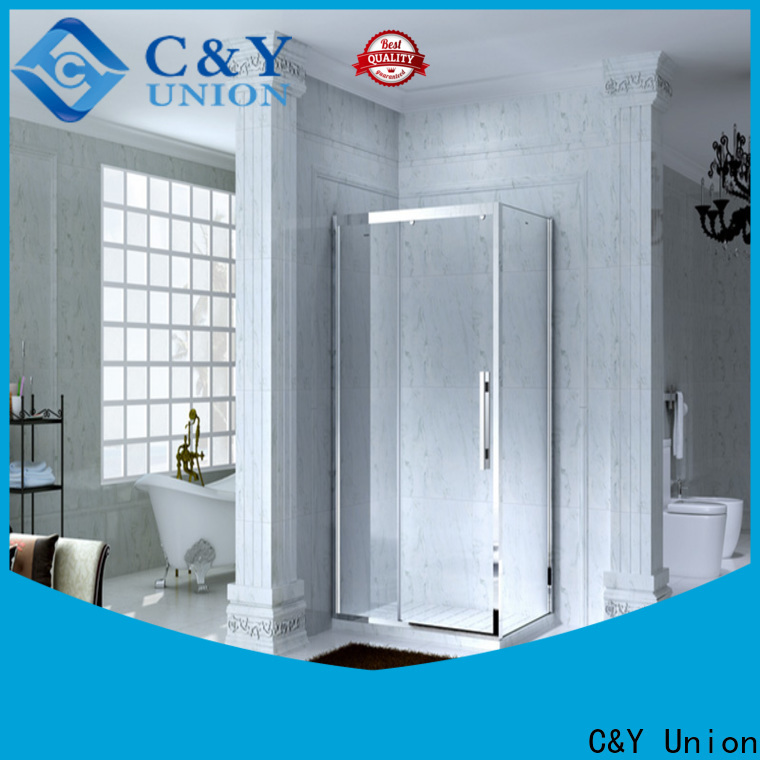 C&Y Union stainless steel framed glass shower door with sliding door for standalone showers