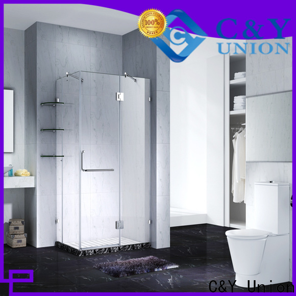 C&Y Union frameless glass shower doors cabin for bathtub