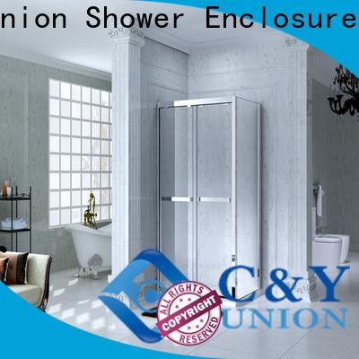 colorful framed glass shower enclosure with sliding door for bathroom