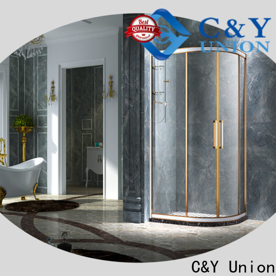 C&Y Union practical framed glass shower with sliding door for bathtub showers